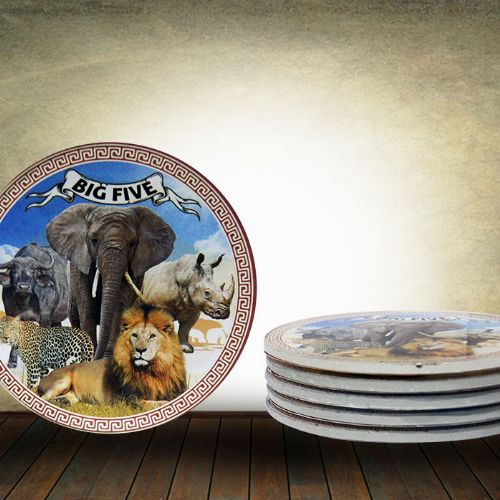 Big 5 Glass Coaster (Set of 6) Round
