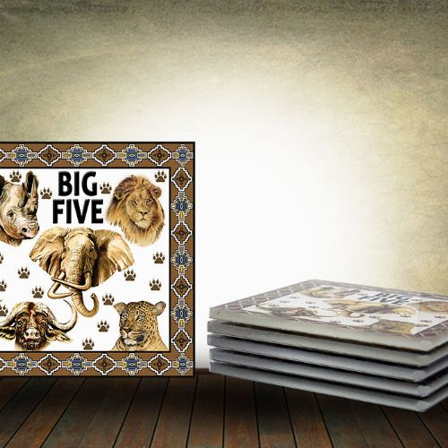 Big 5 Glass Coaster (Set of 6) Square