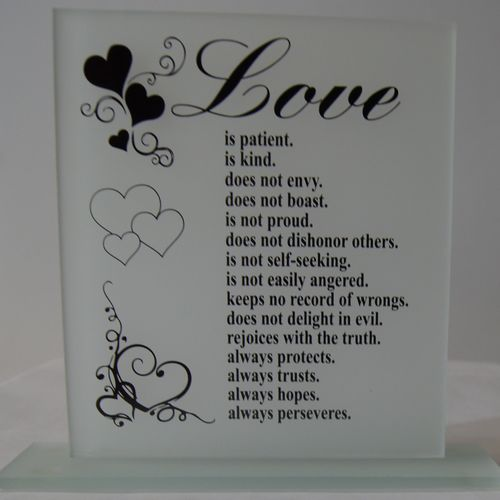 Large Glass Plaque love