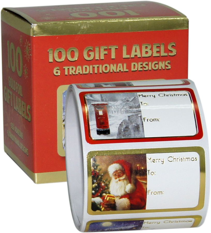 100 Christmas Self Adhesive Labels in a Box